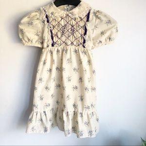 Vintage smocked floral lace trim prairie dress